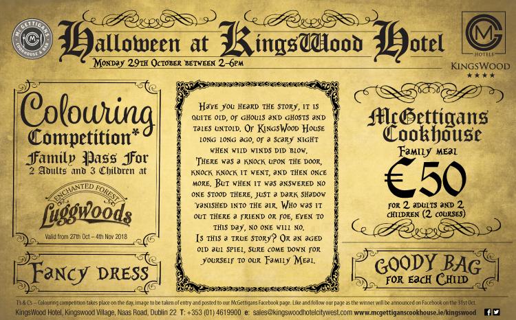 Halloween Menu Dublin Hotel